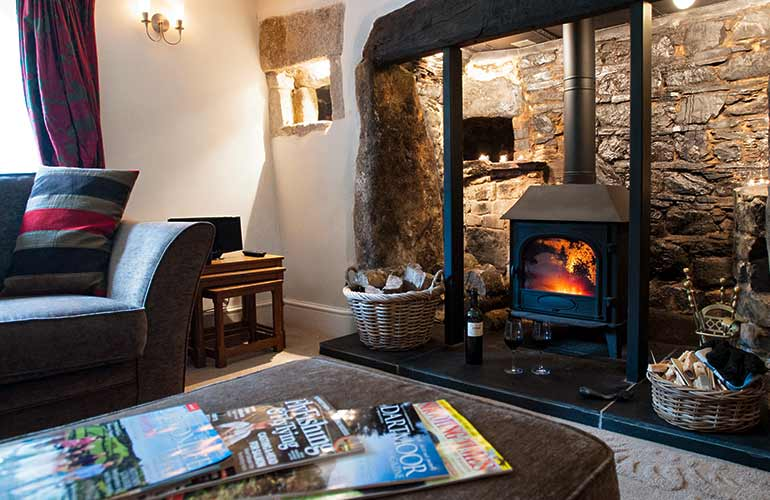 Log burner in drawing room