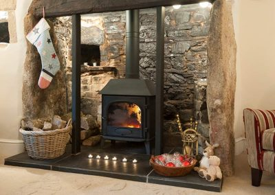 Log burner with Christmas Stocking